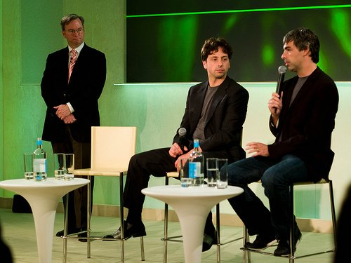 Eric Schmidt, Larry Page and Sergey Brin