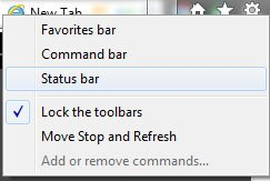 IE9 Status command and favorite bar