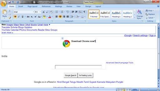 IE9 webpage edit through word
