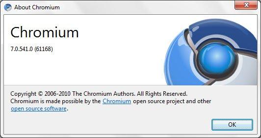 Google chrome 7.0.541