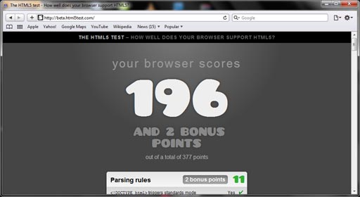apple safari 5.0.2 html5 test score