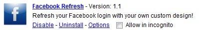 Google Chrome Facebook Refresh Extension Options