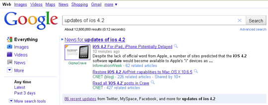 google search updates friendfeed, myspace and facebook