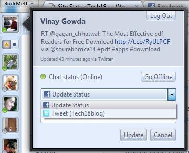 rockmelt browser facebook and twitter status update