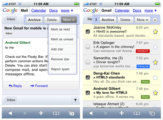 gmail mobile for iphone and android