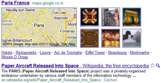 google search result missing paris