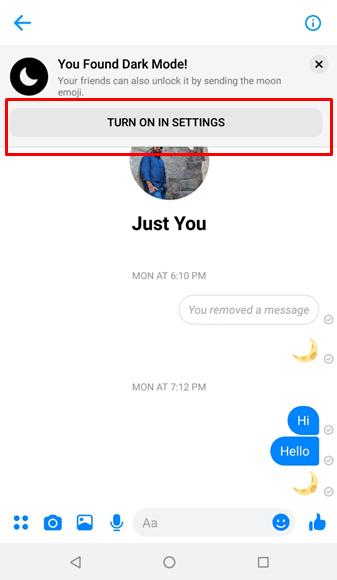 enable dark mode messenger 2