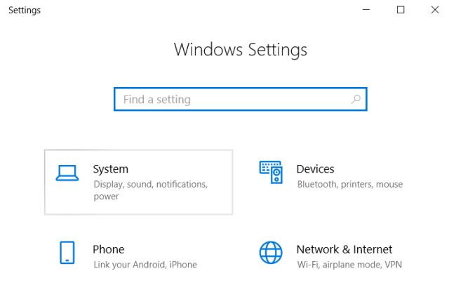 Windows settings System