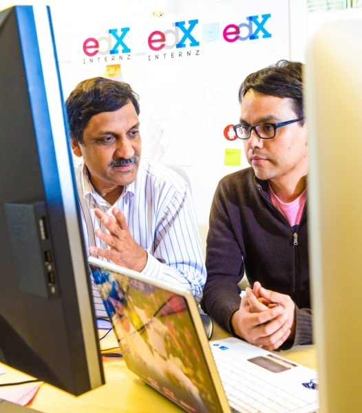 Anant Agarwal discussing the finer points of engineering code with an edX engineer edited