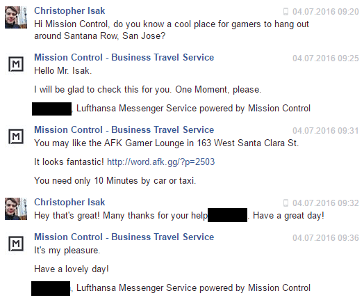 Lufthansa Innovation Hub Mission Control Facebook Chat Assistant Service