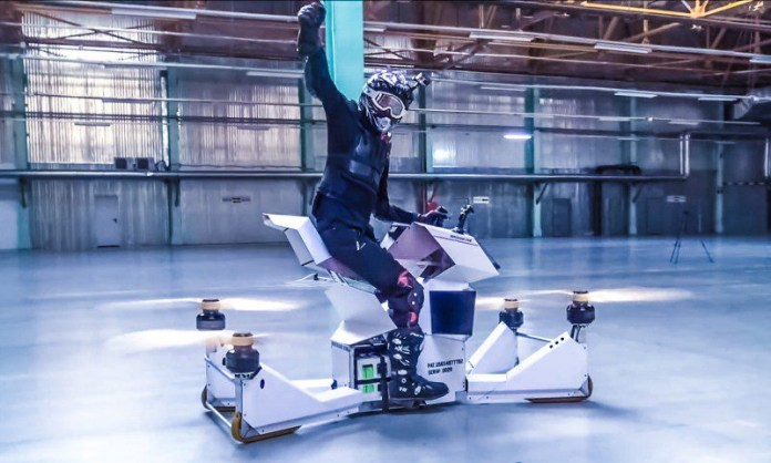 Hoversurf Scorpion-3 S-3 Hoverbike Russia Prototype Pilot Rider Crossbike Suit Helmet Flying Future Vehicles Drones