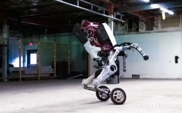 Handle is a research robot that stands 6.5 ft tall travels at 9 mph and jumps 4 feet vertically