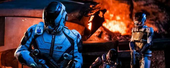Mass Effect Andromeda Review Screenshot Team Standing Outside Fire Armor Suite Story