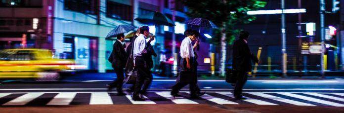 Umbrella Outside Wet Suite Japan Business Men Group Street Urban Workers Rain Tokyo Night Photo Traffic Speed Blur Taxi Cab