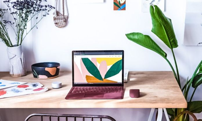 Microsoft Surface Laptop Lifestyle Press Photos Desktop Arc Mouse Burgundy Design Office Home Desk Working Laptop New Product Notebook