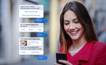 use-case-2-food-ordering caffee decaf cappucino woman using smartphone remote chatbot customer service trend cisco mindmeld ai news
