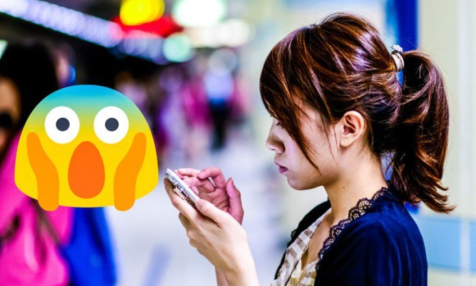 Girl Texting Google Android Noto Font Family Emoji Blob Gumdrop Style Replaced Apple iOS New Version compressed
