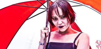 Zombie Girl Holding Umbrella Corporation Logo Looking Cosplay Event Makeup Asian Dermatology Office Steals Copyright Issues Medcare Skin Center