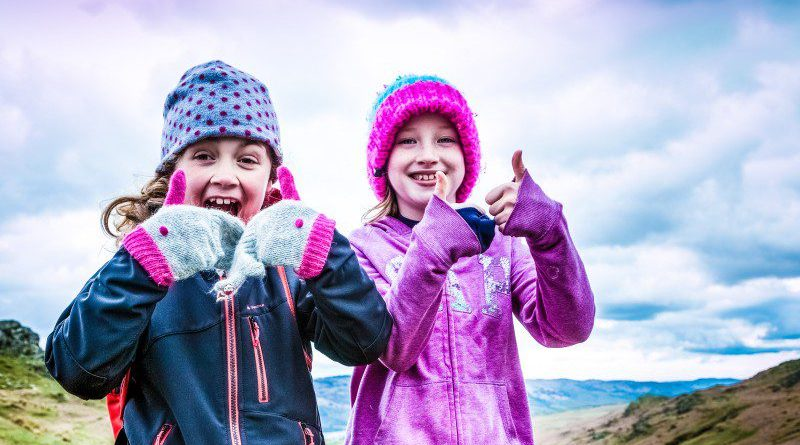 Two Girls Thumbs Up All Okay Are You Ok App Outside Cloudy Sky Mountain Hike