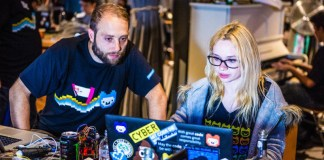 Frankfurt Jugend Hackt Coding Hackathon Youth Young Woman Girl Learning Laptop Hacking Female Hacker Glasses Stickers With The Best Online Conference AI IoT CyberSec Blockchain