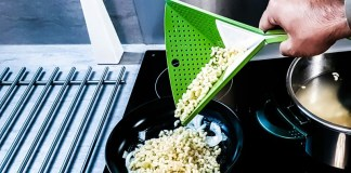 Oriboard Design Kitchen Aid Startup New Design Product Colander Cutting Board Example In Use Cooking Tool