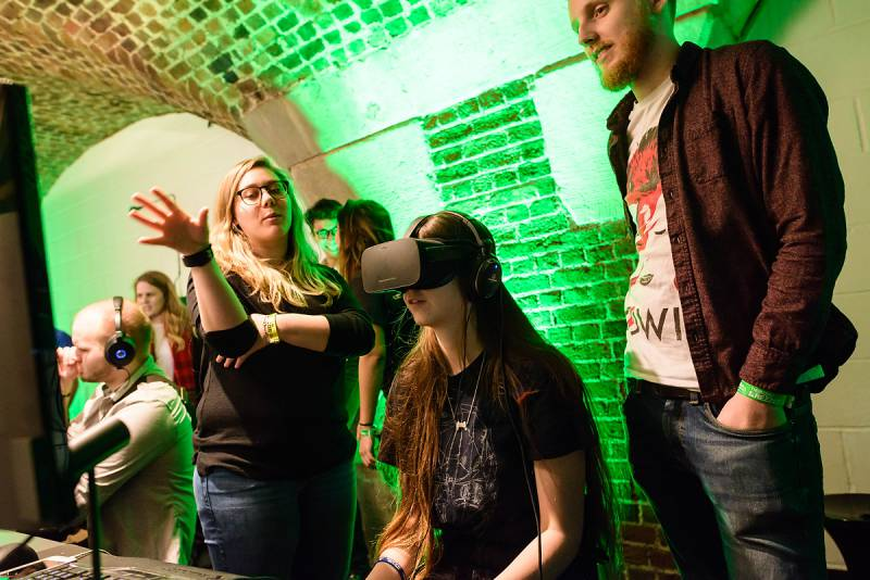 EGX Rezzed 2017 VR Girl Playing Games Gaming Event London UK