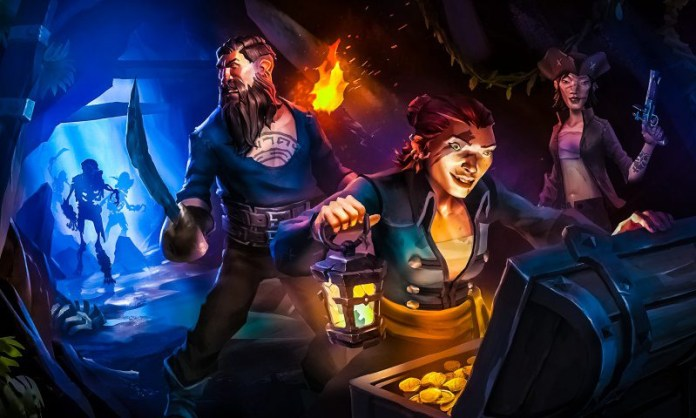 Pirates Looting Treasure Cave Sea-of-Thieves-Key-Art-Treasure-Hunting-Chest-Female-Male-Pirate-Skeletons-Torch-Pistol-Sword-Game-Review