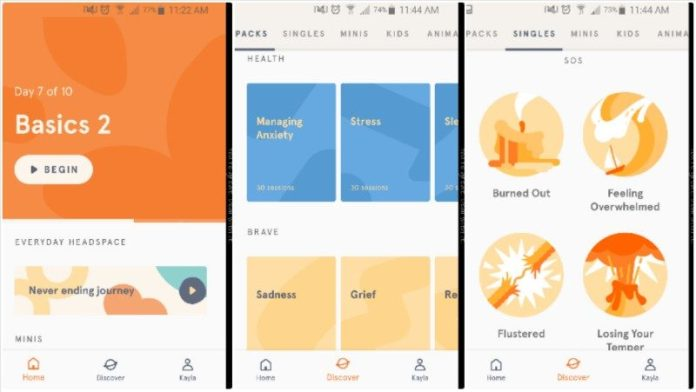 Headspace App Review Example Screenshots Meditation Mindfulness Calm Mental Health iOS Android Guided