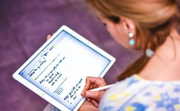 Nebo MyScript App for capturing hand-written notes lifestyle photo woman taking notes writing down scribbles