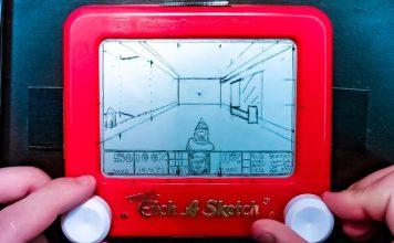 Travel Etch A Sketch Doom Screenshot Drawing Retro Gaming Art Tech Video Toy