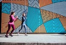Alegria Traq Smart Shoes Pedometer Social Media App Women Walking Joggin Mural Background City Urban Sports Fashion FashionTech