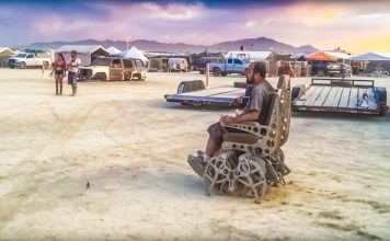 Playa Crawler Mark Ellis Walking Wheelchair Kinetic Art Burning Man