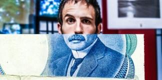 money shot photo bill dollar paper face expression eye brow raised male man guy president halfened