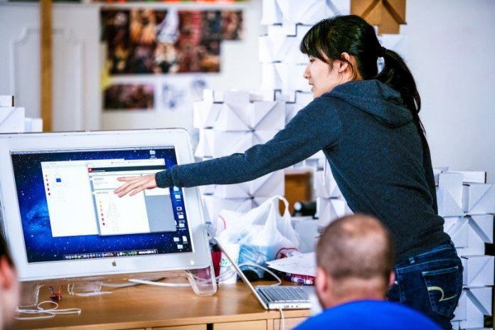 UX UI Design Woman Pointing Showing Training Office