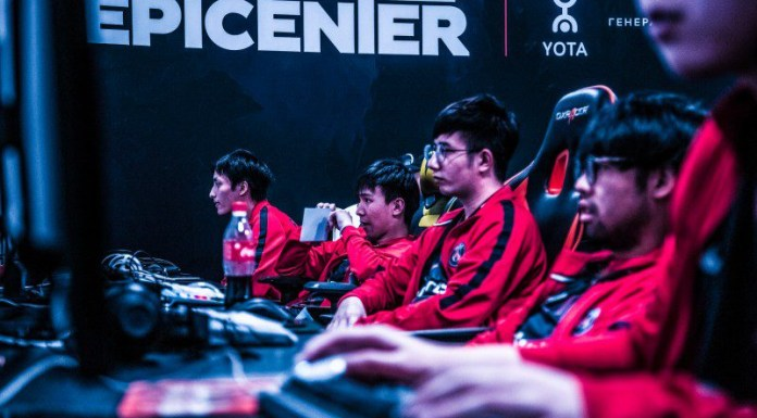 Epicenter Yota Esports Sport Gamers Sitting In Front of PC Desk Gaming