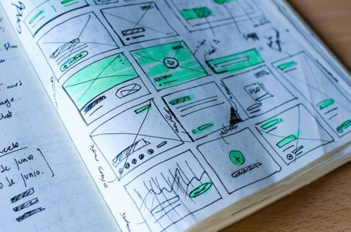 Drawing Concepts In Little Notebook UX UI Design Domain Website Building App Solution Tech Startup Working Notes Meeting Minutes