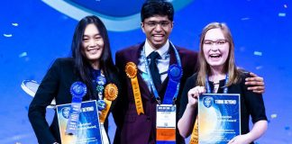 Allison Jia (from left) Krithik Ramesh and Rachel Seevers celebrate on Friday May 17 2019 at the 2019 Intel International Science and Engineering Fair