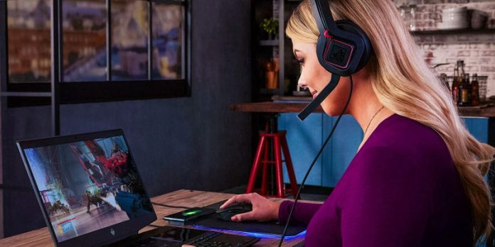 HP Omen X 2S Secondary Screen Gamer Laptop Streaming Features Extra Display Female Gamer Headset Crop