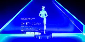 Holographic Cortana Appliance DIY Concept AI Halo Female Virtual Assistant Hologram Video