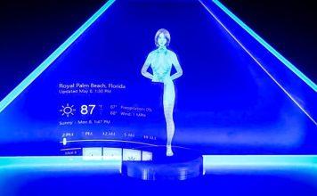 Holographic Cortana Appliance DIY Concept AI Halo Female Virtual Assistant Hologram Video