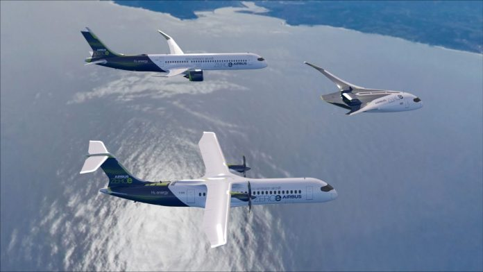 "Airbus ZEROe concept aircrafts - formation flight with turbofan design, turboprop design, and ""blended-wing body"" design"