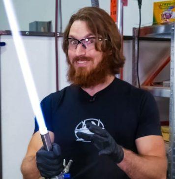 James Hobson Hacksmith Builds Working Functional Retractable Plasma Lightsaber Star Wars Jedi Sith STEM Science Maker