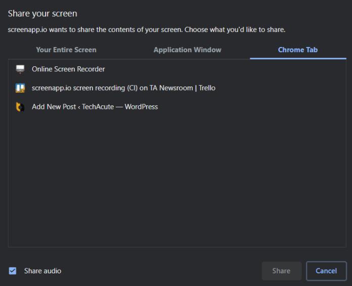 ScreenApp Screen Recording Browser Tutorial Step 2
