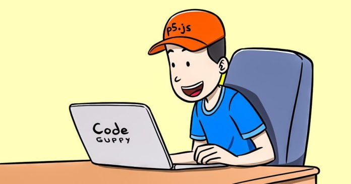 CodeGuppy cartoons guy with cap and laptop