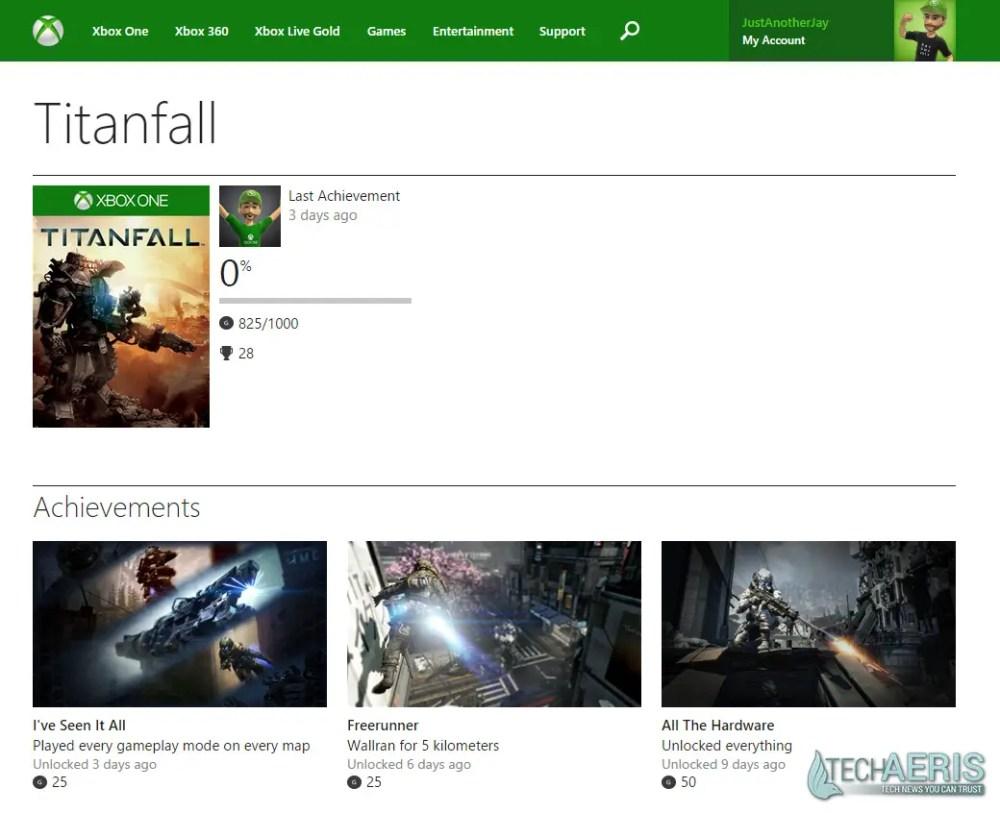 XBL Achievements Website Redesign - Game Detail Screenshot