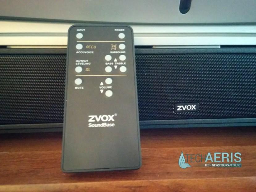 ZVOX Soundbase 570 Remote and front grill