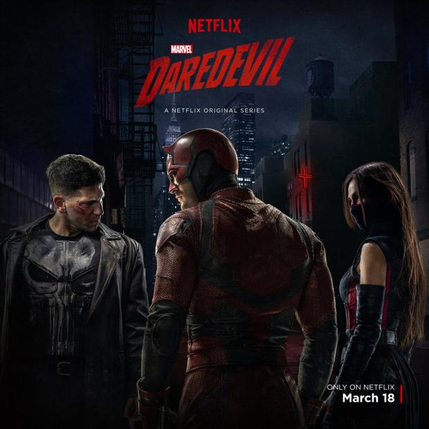 As if it is possible to garner any more anticipation over season 2 of Netflix's Daredevil, a new teaser trailer was released with glimpses of Daredevil himself along with new partners in crime...er...crimefighting, Elektra and The Punisher. An ancient evil is coming. Time to suit up. #Daredevilhttps://t.co/aWko3BLbEi — Netflix ANZ (@NetflixANZ) March 9, 2016 The Punisher, better known as Frank Castle and played by Jon Bernthal had a brief introduction in the first official trailer while Elektra, played by Elodi Yung, got the spotlight in the second trailer for season 2. In a better lit and longer lasting promotional image, all three characters are depicted in what will presumably be their costumes for season 2, with The Punisher in his famous skull t-shirt and leather jacket, Daredevil in his new red threads, and Elektra in daredevil-season-2-costumes-elektra-punisher