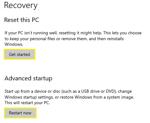 choose other options if you want to restart the PC with (Advanced Startup)
