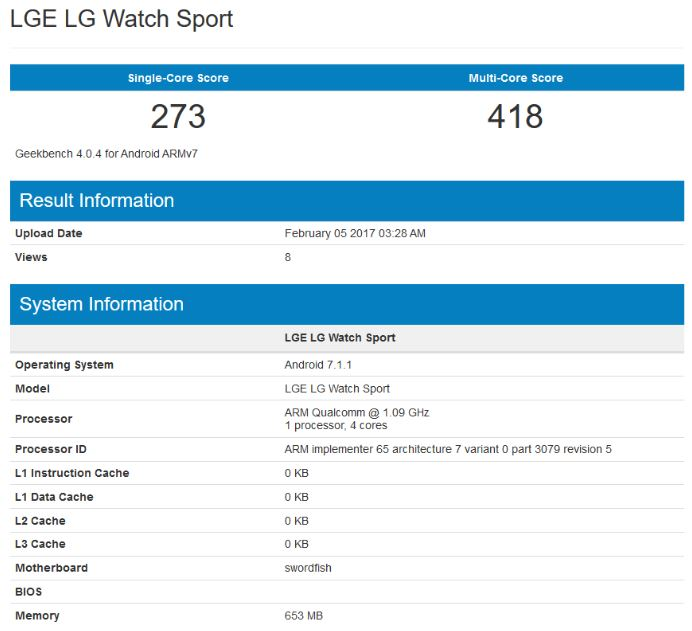 lg watch sport geekbench