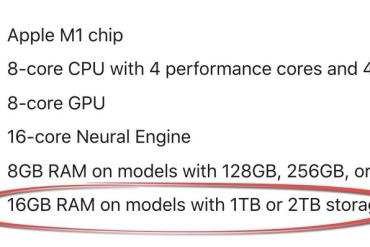 The new M1-powered iPad Pro comes with 8GB and 16GB of RAM, depending on storage configurations.
